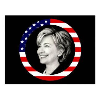 hillary Clinton. nosotros bandera. pintoresco Postal