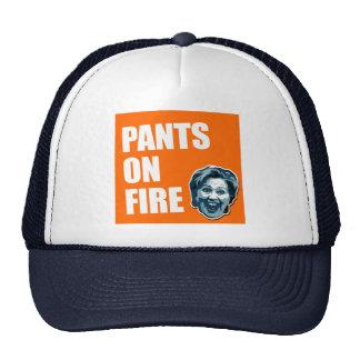 Hillary Clinton Pants On Fire Trucker Hat Cap