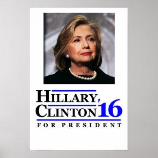 Hillary Clinton para el cartel 2016 del presidente Póster