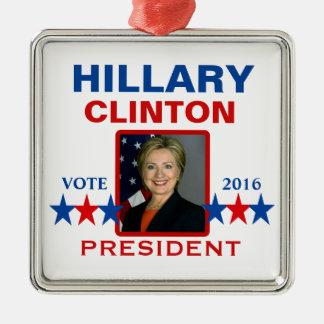 Hillary Clinton para el presidente 2016 Adorno Navideño Cuadrado De Metal