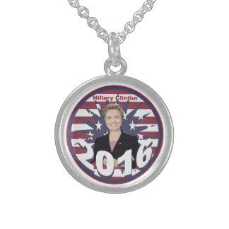 Hillary Clinton para el presidente 2016 Collar De Plata Esterlina