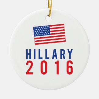 Hillary Clinton para el presidente 2016 con la Adorno Navideño Redondo De Cerámica