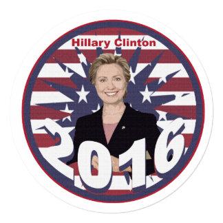 Hillary Clinton para el presidente 2016 Invitación 13,3 Cm X 13,3cm
