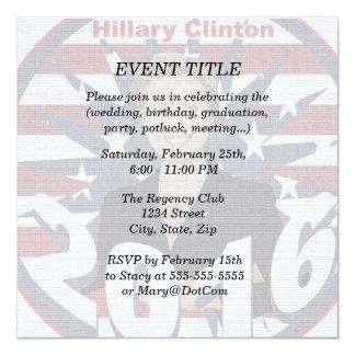 """Hillary Clinton para el presidente 2016 Invitación 5.25"""" X 5.25"""""""