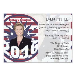 """Hillary Clinton para el presidente 2016 Invitación 5"""" X 7"""""""