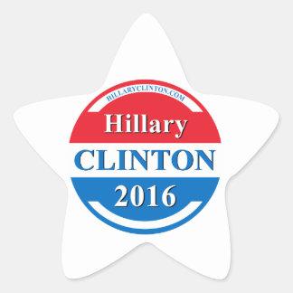 Hillary Clinton para el presidente 2016 Calcomania Forma De Estrella Personalizadas