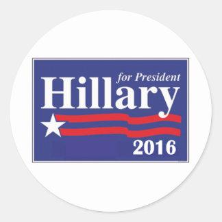 Hillary Clinton para el presidente 2016 Etiqueta Redonda