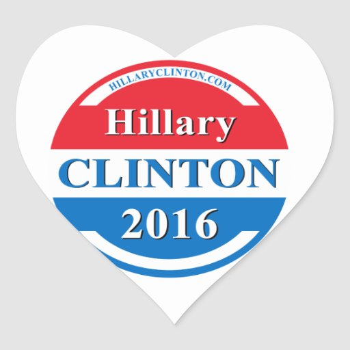 Hillary Clinton para el presidente 2016 Pegatina En Forma De Corazón