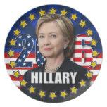 Hillary Clinton para el presidente 2016 placa Plato De Cena