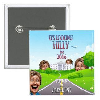 Hillary Clinton para el presidente en 2016 Pin Cuadrada 5 Cm