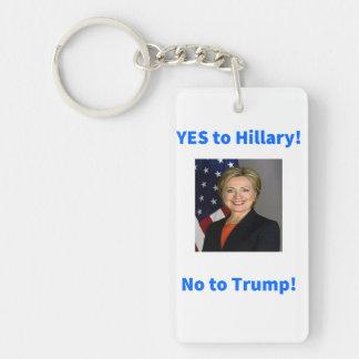 Hillary Clinton para el presidente Llavero Rectangular Acrílico A Doble Cara
