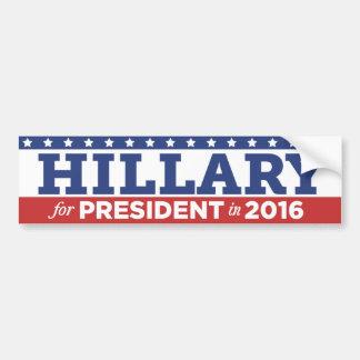 Hillary Clinton para el presidente pegatina para Pegatina Para Auto