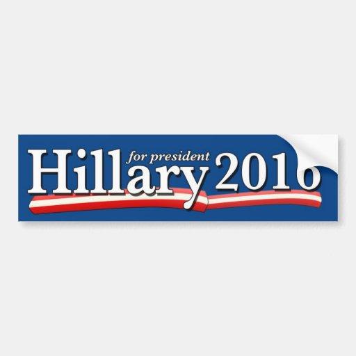 Hillary Clinton para la pegatina para el parachoqu Pegatina De Parachoque