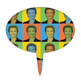 Hillary Clinton Pop-Art Cake Toppers