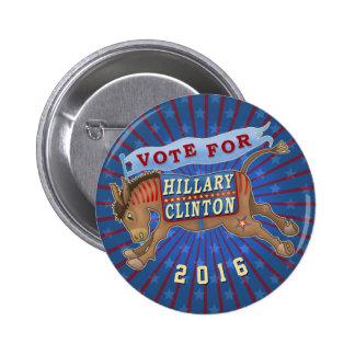 Hillary Clinton President 2016 Democrat Donkey 2 Button