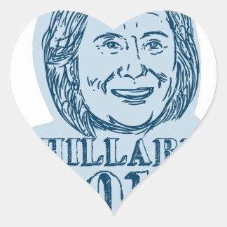 Hillary Clinton President 2016 Drawing Heart Sticker