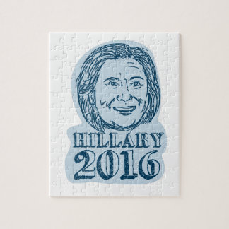 Hillary Clinton President 2016 Drawing Jigsaw Puzzle