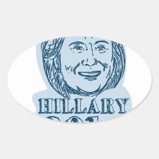 Hillary Clinton President 2016 Drawing Oval Sticker