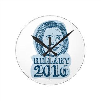 Hillary Clinton President 2016 Drawing Round Clock