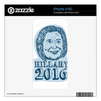 Hillary Clinton President 2016 Drawing Skins For iPhone 4S
