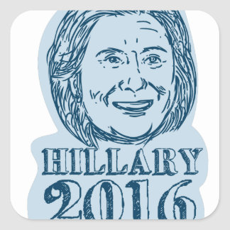 Hillary Clinton President 2016 Drawing Square Sticker
