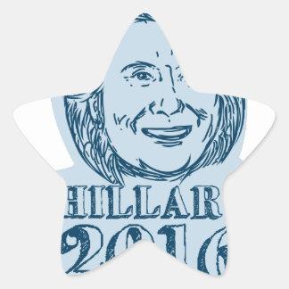 Hillary Clinton President 2016 Drawing Star Sticker