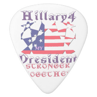 Hillary Clinton Presidential Vote We are stronger White Delrin Guitar Pick