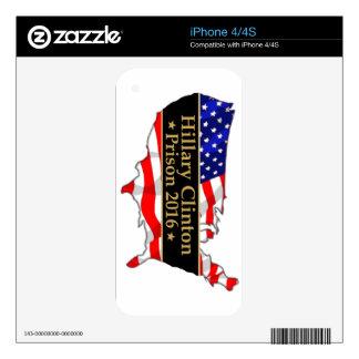 Hillary Clinton Prison 2016 Anti Hillary design iPhone 4S Skins