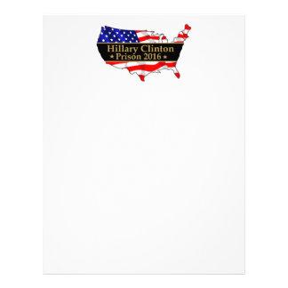 Hillary Clinton Prison 2016 Anti Hillary design Letterhead