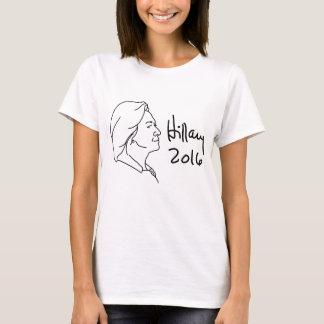 Hillary Clinton Profile Portrait Black Lines T-Shirt