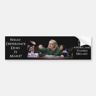 ¿Hillary Clinton - qué diferencia? Pegatina Para Auto