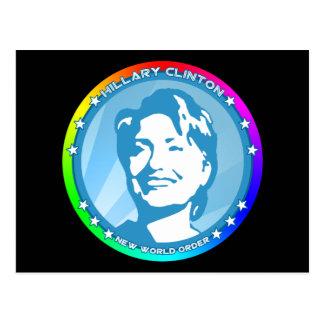 hillary clinton. rainbow. postcard