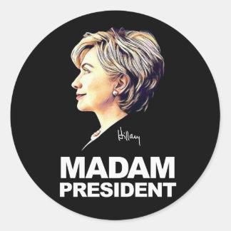 """Hillary Clinton """"señora presidente"""" pegatina"""