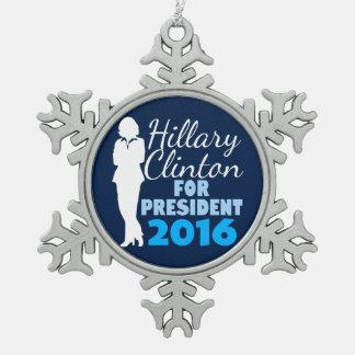 Hillary Clinton Silhouette President 2016 Snowflake Pewter Christmas Ornament