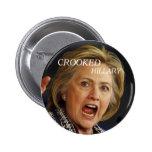 Hillary Clinton torcida 2016 Pin Redondo De 2 Pulgadas