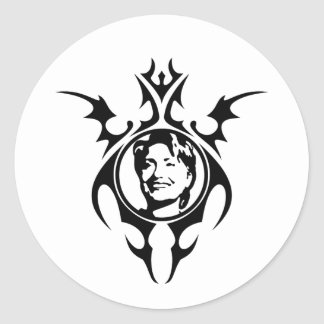 Hillary Clinton tribal design Classic Round Sticker