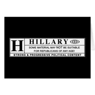 Hillary Clinton warning label Greeting Card