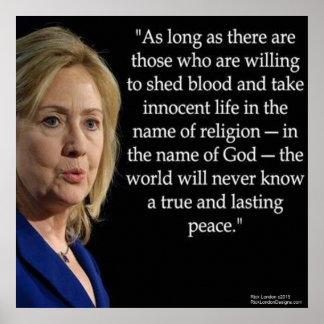 Hillary Clinton y poster de la cita de la