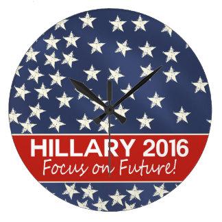 Hillary Focus on Future Large Clock