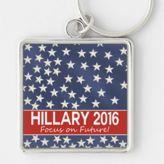 Hillary Focus on Future Silver-Colored Square Keychain