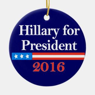 Hillary for President 2016 Christmas Ornaments