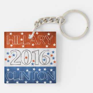 Hillary for President 2016 Double-Sided Square Acrylic Keychain