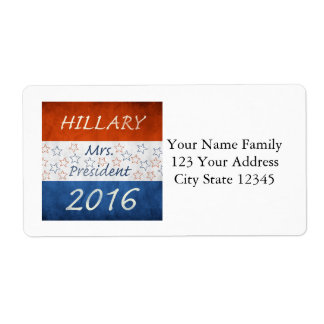 Hillary for President 2016 Shipping Label