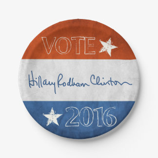 Hillary for President 2016 7 Inch Paper Plate