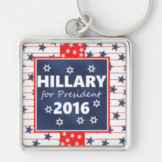 Hillary for President 2016 Silver-Colored Square Keychain