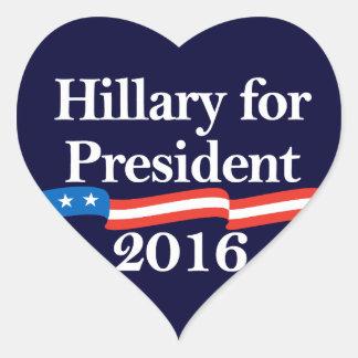 Hillary for President 2016 Heart Sticker