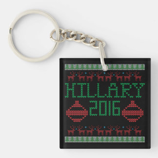 Hillary for President in 2016 Ugly Holiday Sweater Keychain