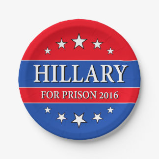 """HILLARY FOR PRISON 2016"" PAPER PLATE"