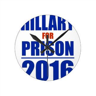 Hillary for Prison 2016 Round Clock