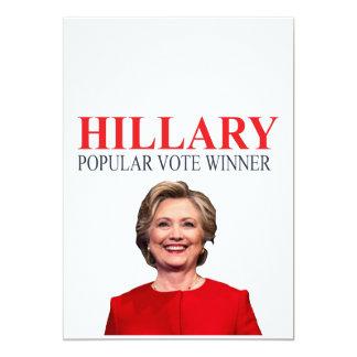 """¡Hillary, ganador del voto popular! Invitación 5"""" X 7"""""""